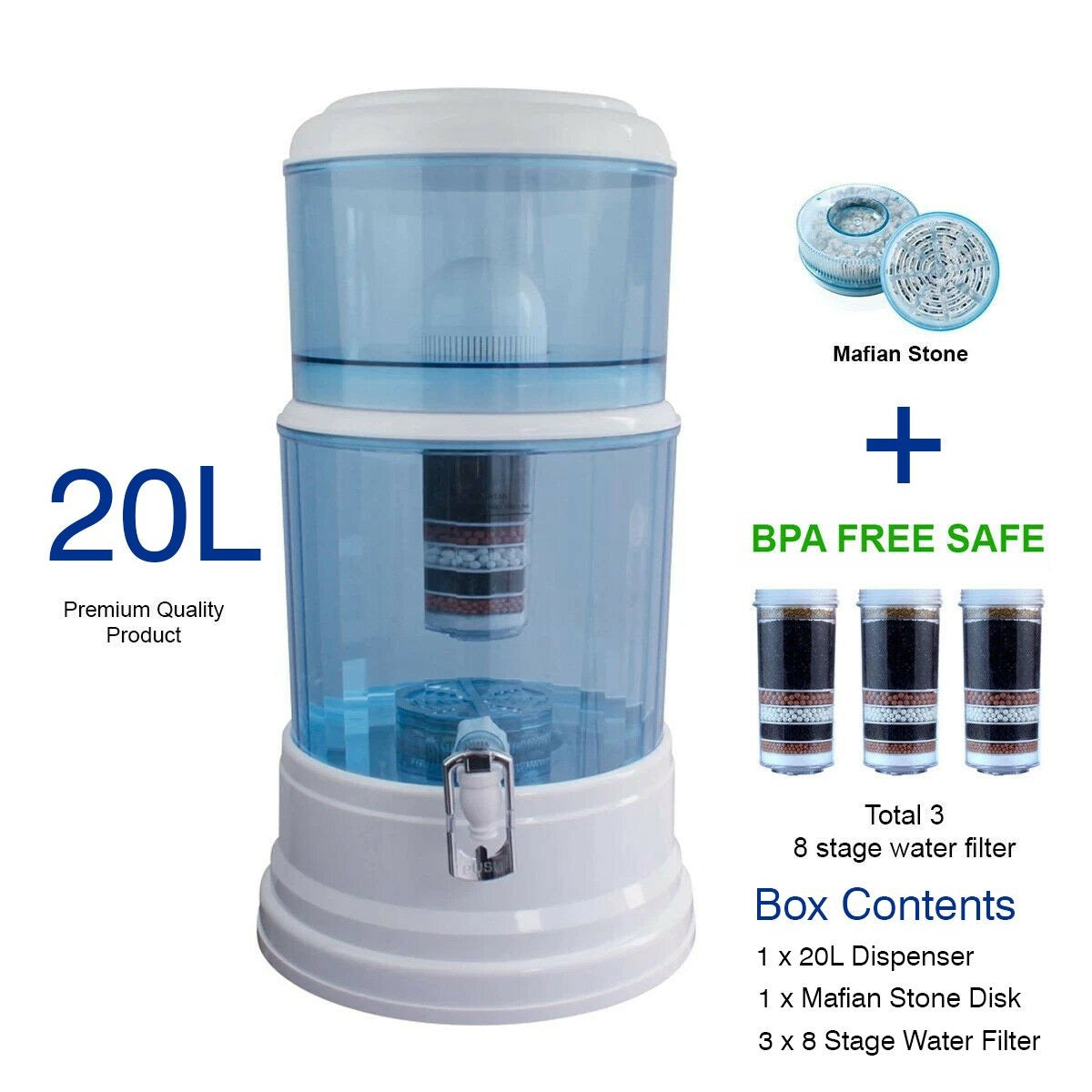 Aimex Water Purifier 8 Stage Water Filter Dispenser 20L Maifan Stone +3 Filters - MDMAustralian