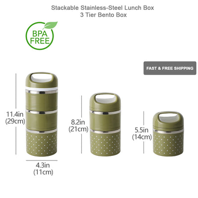 Stackable Lunch Box Thermal Food Storage Container Stainless Steel Insulated Bag - MDMAustralian