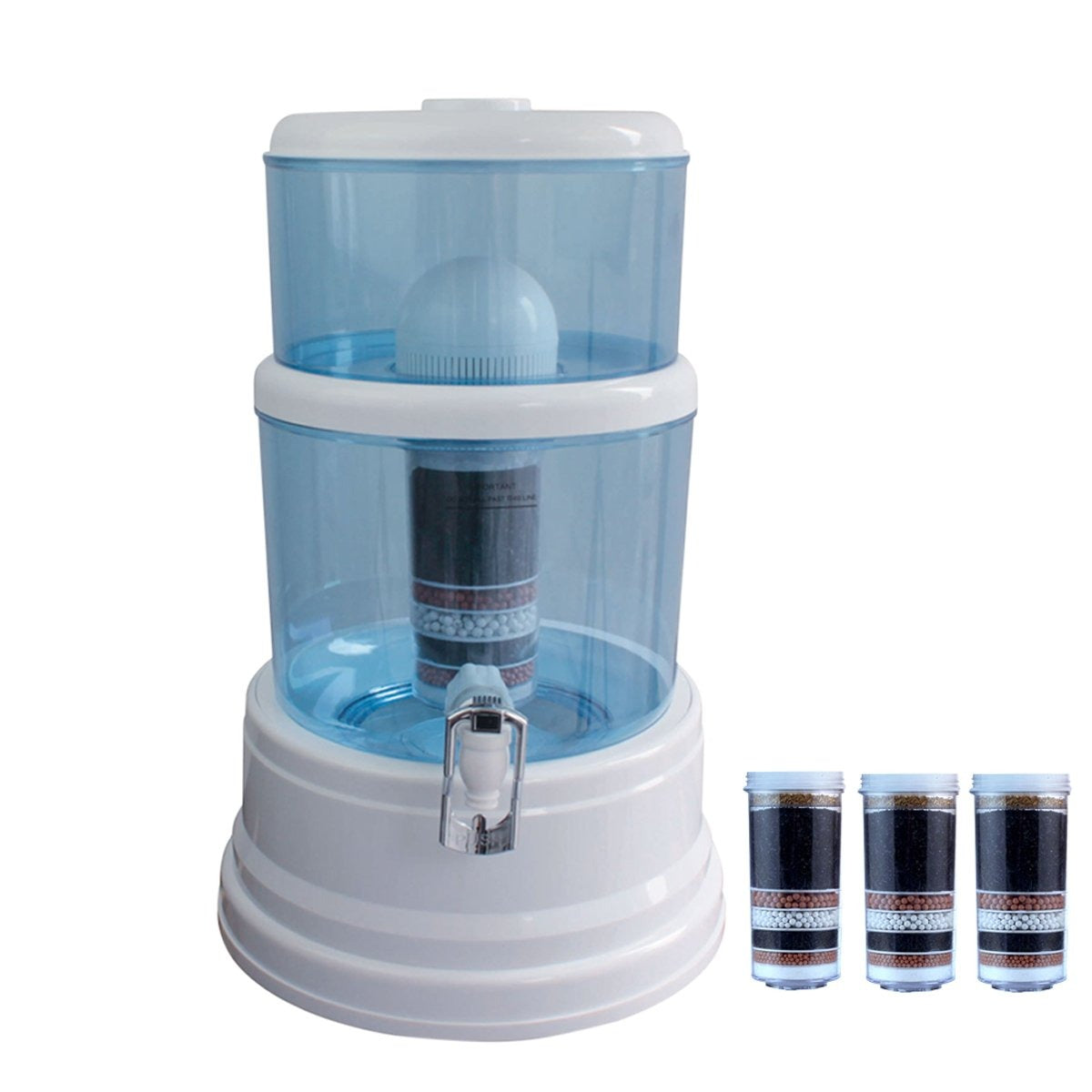 8 Stage Water Ceramic Carbon Mineral Bottle Top Dispenser Purifier 3 Filters 16L - MDMAustralian