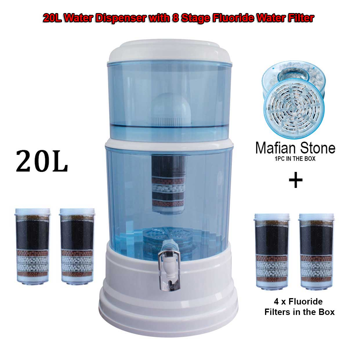 Aimex Water ®️ 8 Stage Fluoride Water Filters Purifier Dispenser Bench Top BPA Free 20L - MDMAustralian