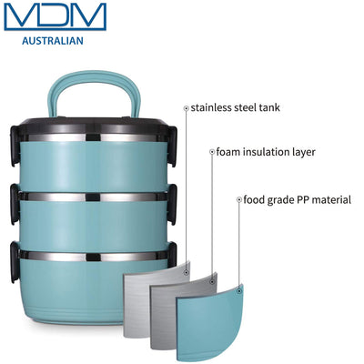 Thermal Insulated Lunch Box 3 Layers Bento Box Stainless Steel Food Container AU Blue - MDMAustralian