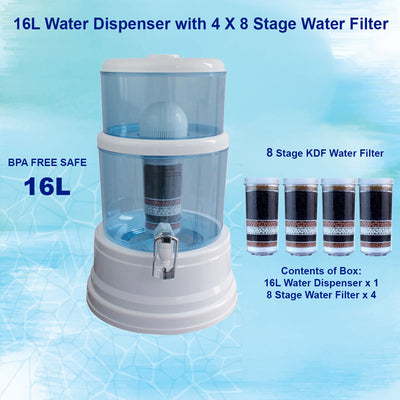 Aimex Water Purifier 8 Stage Water Ceramic Top Dispenser Purifier 4 Filters 16L - MDMAustralian