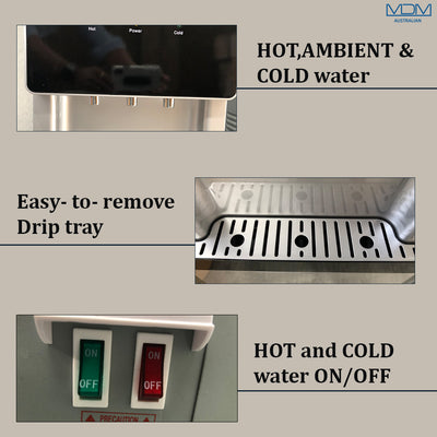 Water Cooler Dispenser benchtop hot cold Ambient Taps Filter Purifier 20L Bottle Aimex Black - MDMAustralian