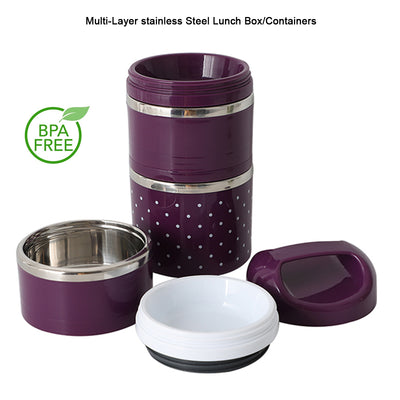 Thermal Insulated Lunch Box 3 Layers Bento Box Stainless Steel Food Container AU - MDMAustralian