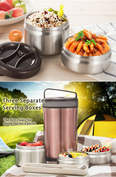 Vacuum Insulated Lunch Box 3 Layer Stainless Steel Food Containers + Insulated Bag + Cutlery - MDMAustralian