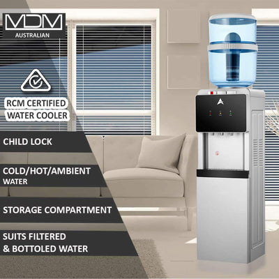 Water Cooler Dispenser Stand hot cold Ambient Taps Fluoride Filter Purifier 20L Bottle Aimex Black - MDMAustralian