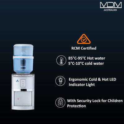 Water Cooler Dispenser benchtop hot cold Ambient Taps Filter Purifier 20L Bottle Aimex Silver - MDMAustralian
