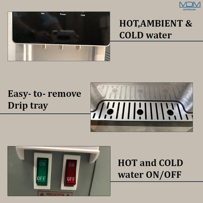 Water Cooler Dispenser Stand hot cold Ambient Taps Fluoride Filter Purifier 20L Bottle Aimex Silver - MDMAustralian