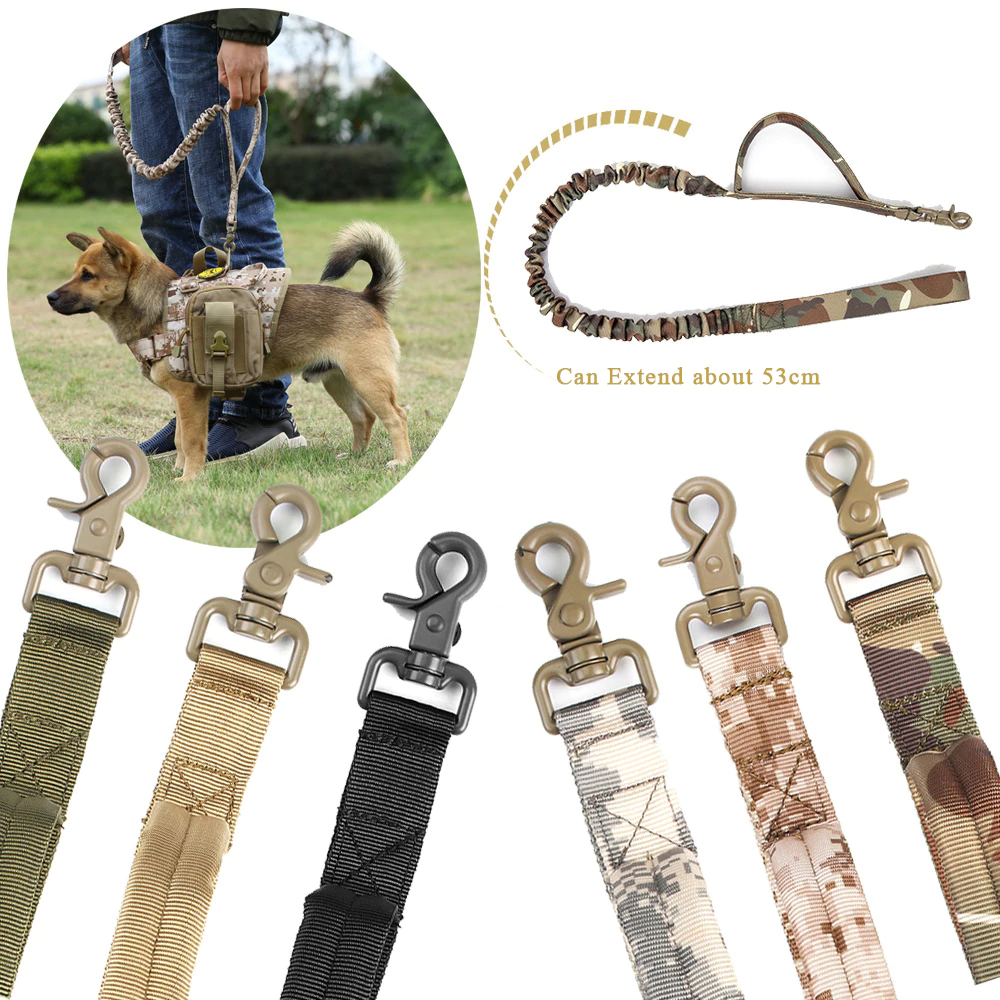 Military Tactical Bungee Dog Leash 2 Handle Quick Release Cat Dog Pet Leash Elastic Nylon Walk Lead Rope Dog Training Leashes
