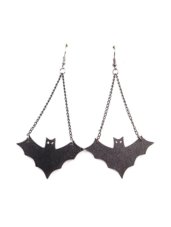 Halloween Leather Bat Chain Earrings