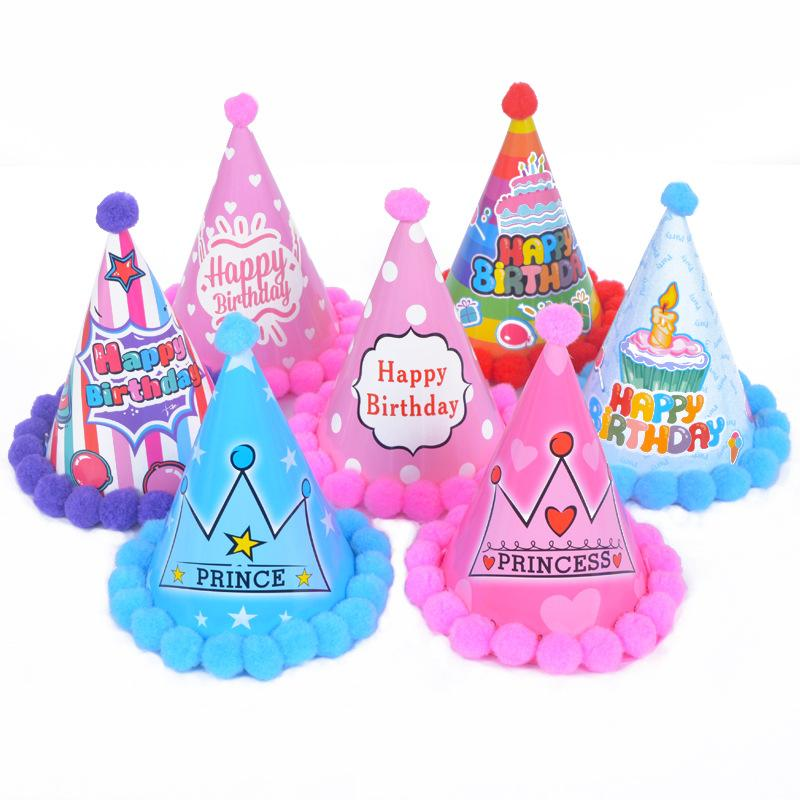 Cute Fur Ball Hat Birthday Party Hat