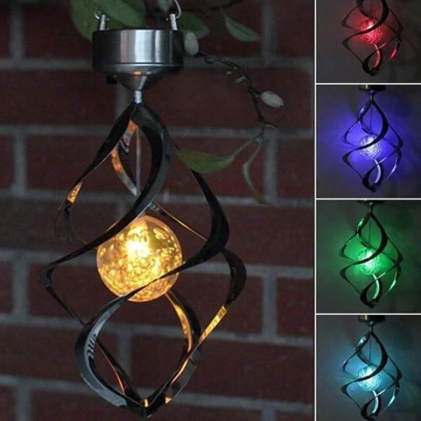 Outdoor Solar Lights Spiral Wind Chimes