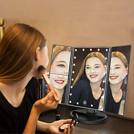 Led Light Tabletop Cosmetic Mirror,Two Power Supply Mode Tabletop Makeup Mirror