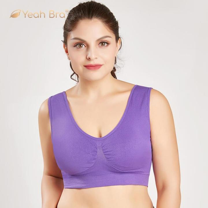 Wirefree Bra for Women Plus Size Bra Sports Sleep Active Seamless Bra Cotton Comfortable (Set of 3)