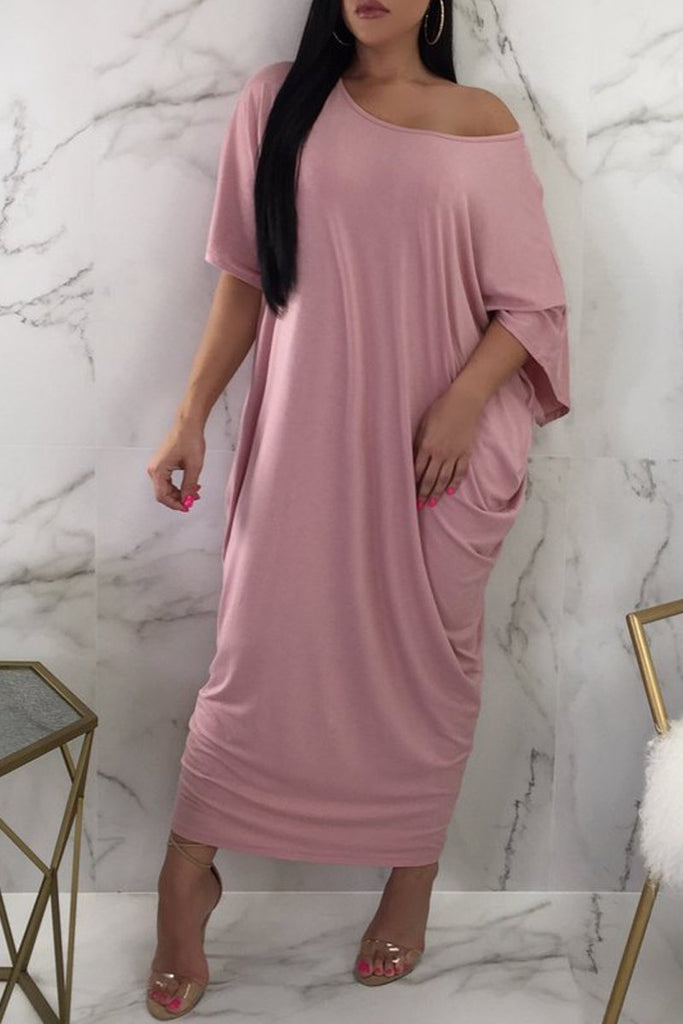 Casual Short Sleeve Skew Neck Solid Maxi Dress