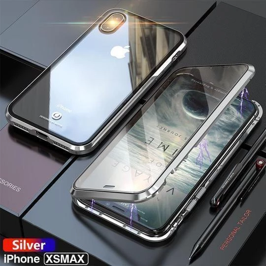 Magnetic Adsorption Case Luxury Metal Tempered Double Sides Glass Cover Case for iPhone