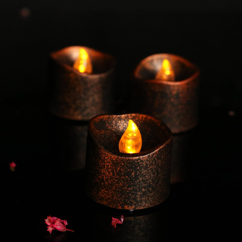 Halloween Brown Glowing Black Candle