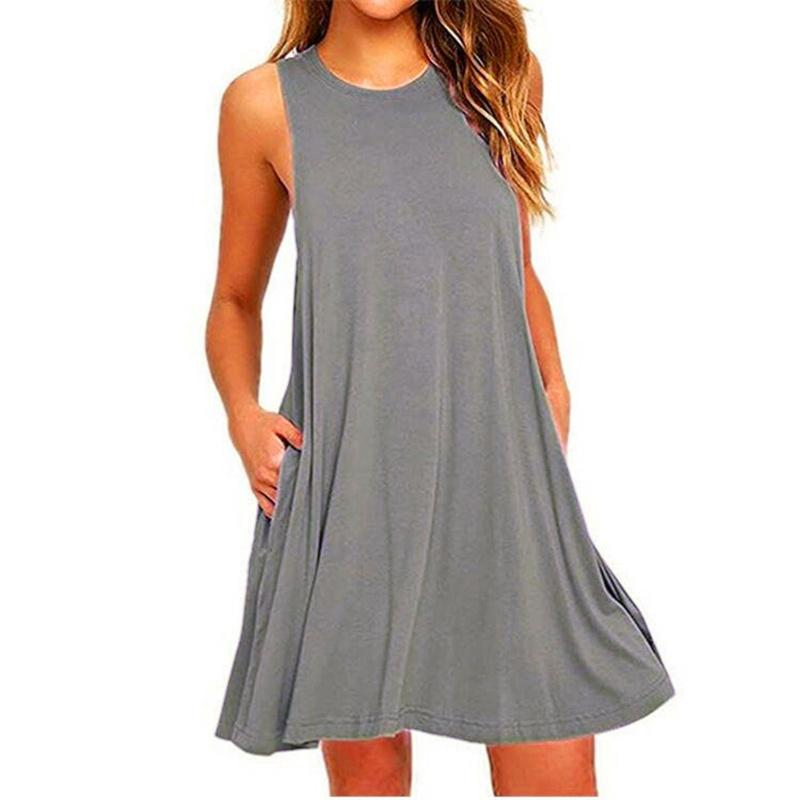 Sleeveless Pure Color Casual Pocket Dress