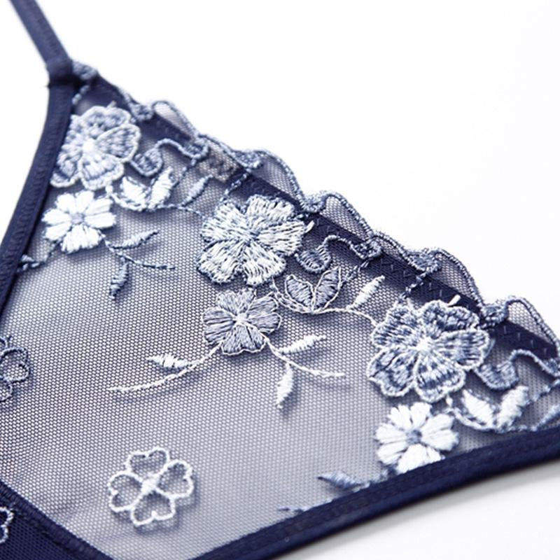 Perspective Mesh Embroidery Flowers Ladies Underwear Thongs