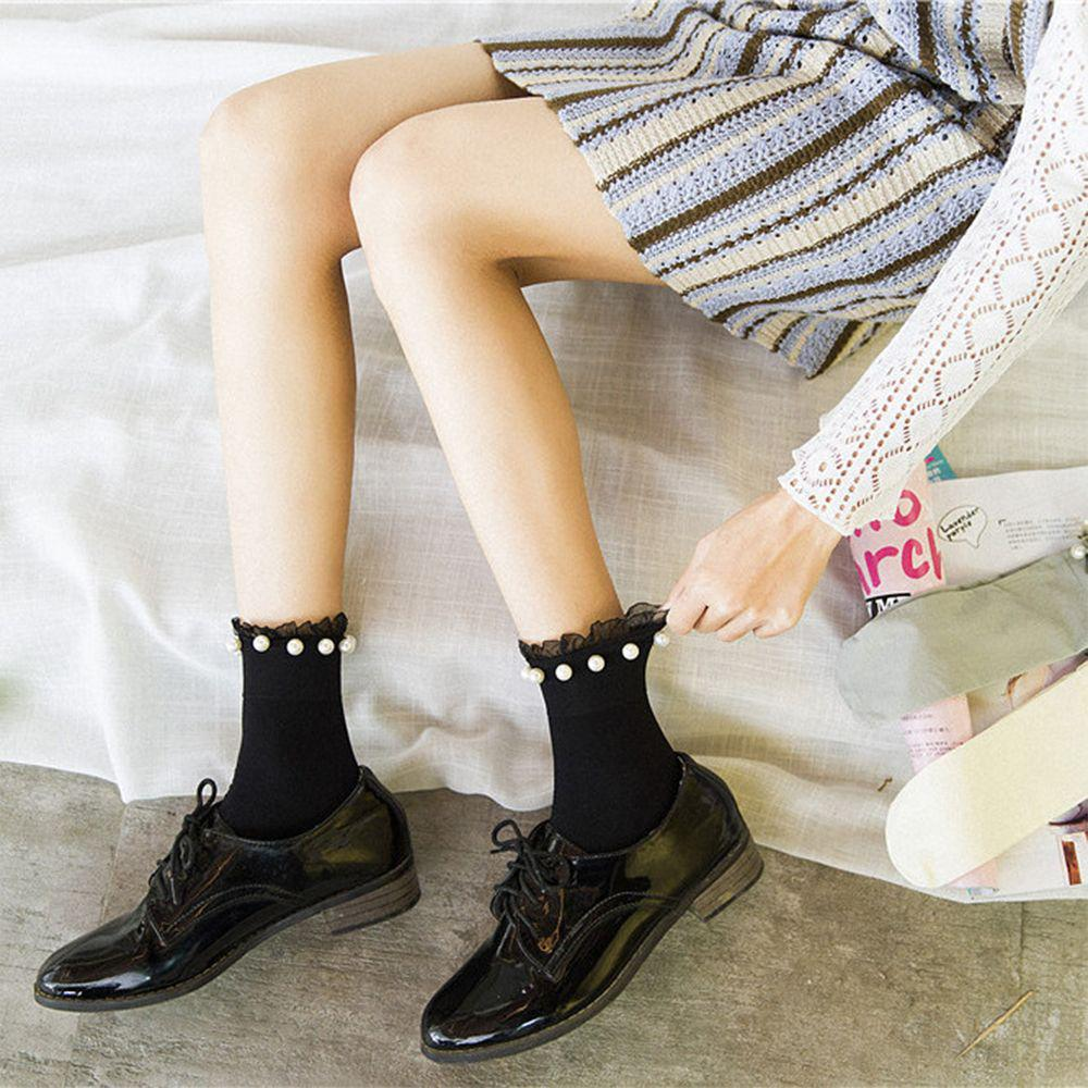 Fashion Solid Pearl Summer Short Socks