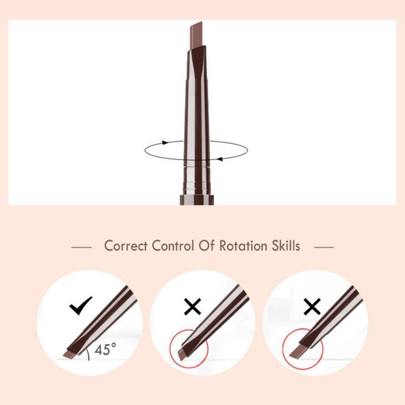 DNM 1pc Dual-end Eyebrow Pencil with Brush Waterproof