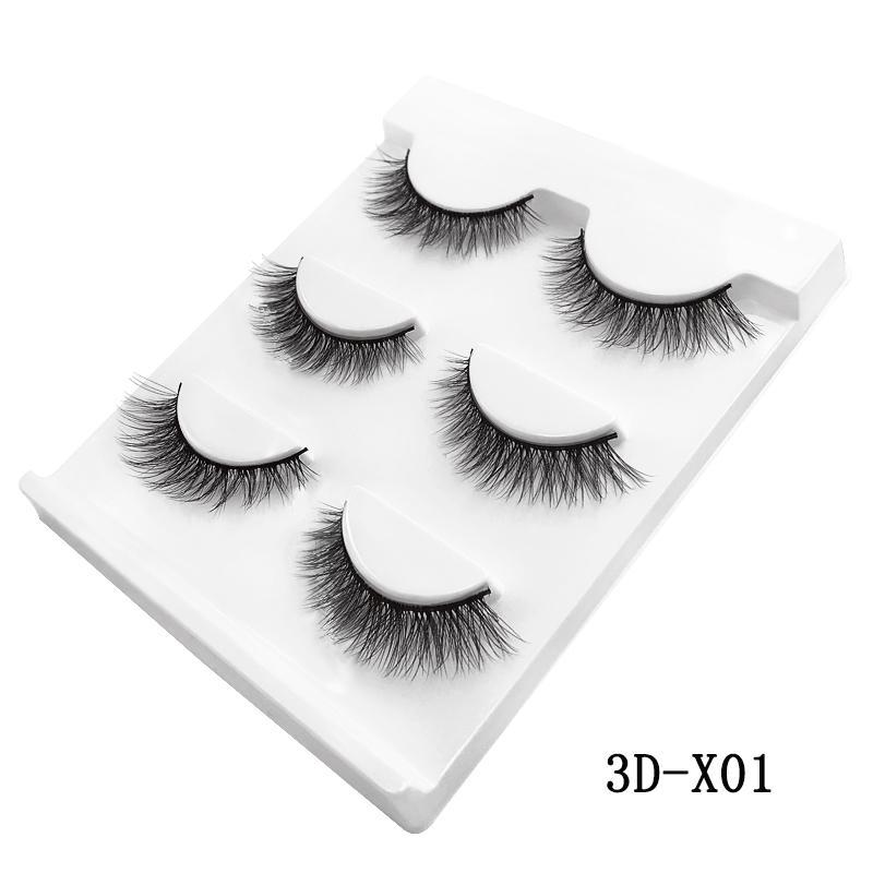 3 Pairs natural false eyelashes thick makeup
