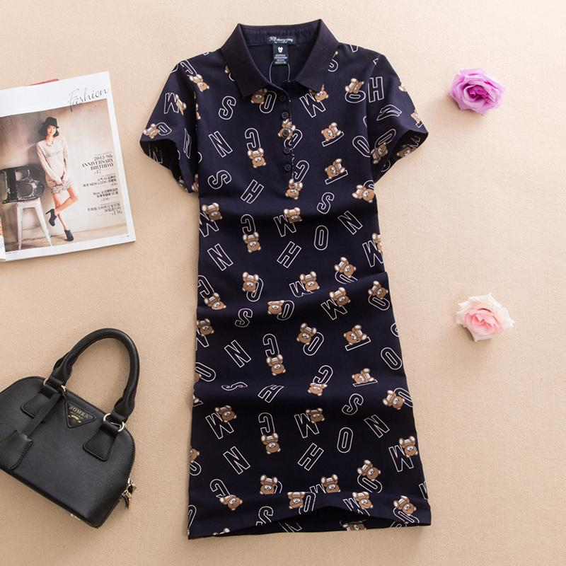 Baharcelin printed animal bear Polos Casual Dresses De Festa T Shirt Femme Summer Tops Clothing One piece Dress Ete Vestidos
