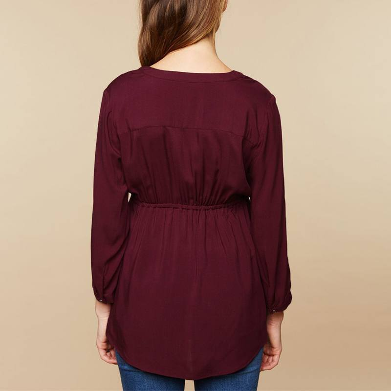 Pregnant Maternity Blouses Autumn Casual Pregnant Blusas Tops Sexy V Neck Full Sleeve High Waist Maternity Pullover