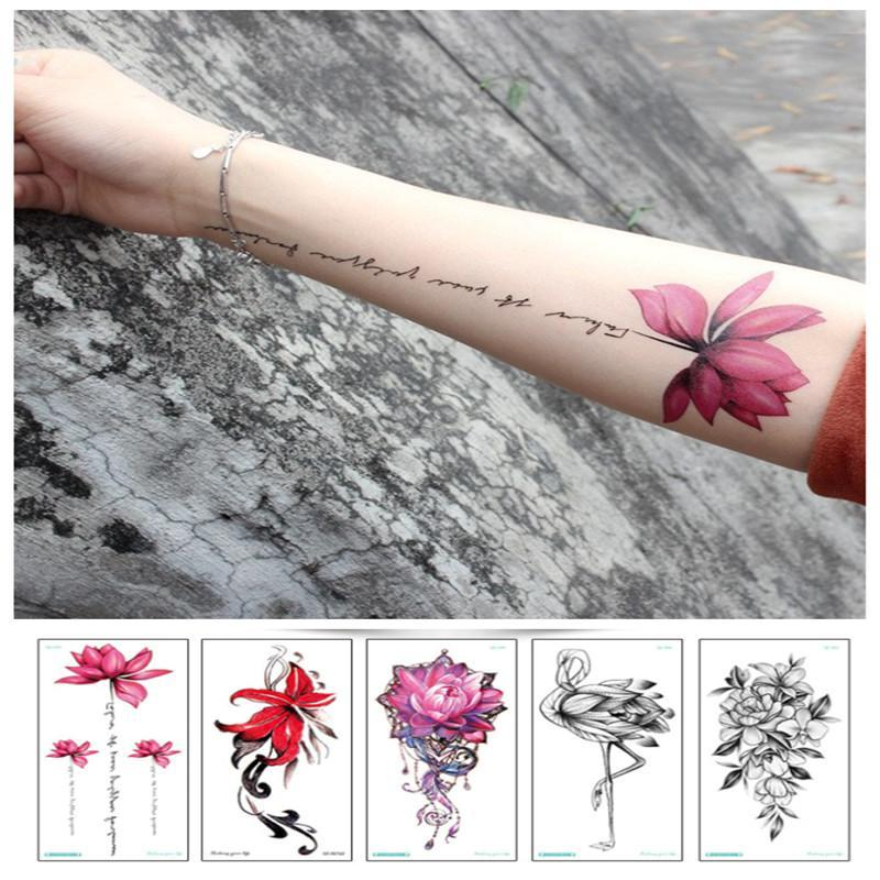 Waterproof temporary tattoo sticker red rose flower