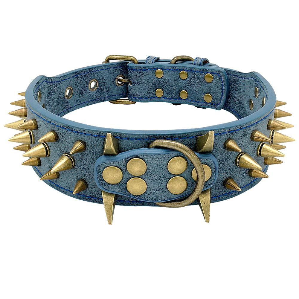 Dog Collar for Large Dogs Cool Spikes Studded Dogs Collar Leather Pet Collar for German Shepherd Mastiff Rottweiler Bulldog