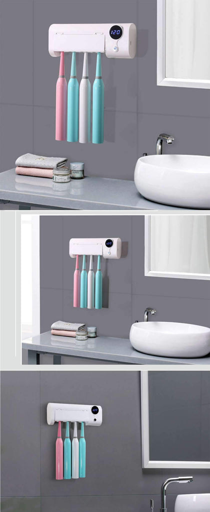 Toothbrush wall-mounted sterilizer