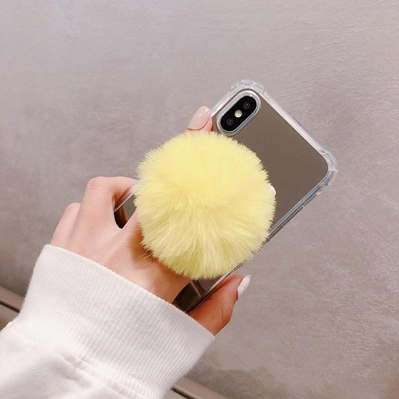 Universal Cute Plush Ball Mobile Phone Bracket Colorful Cell Phone Holder Stand Ring Bracket Phone Accessory for iphone huawei