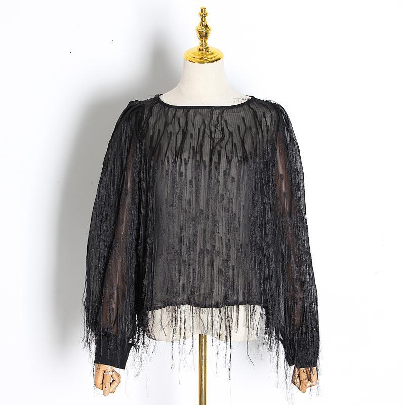 Perspective Patchwork Tassel Women's Shirt O Neck Lantern Long Sleeve Embroidery Blouses Female Autumn Fashion