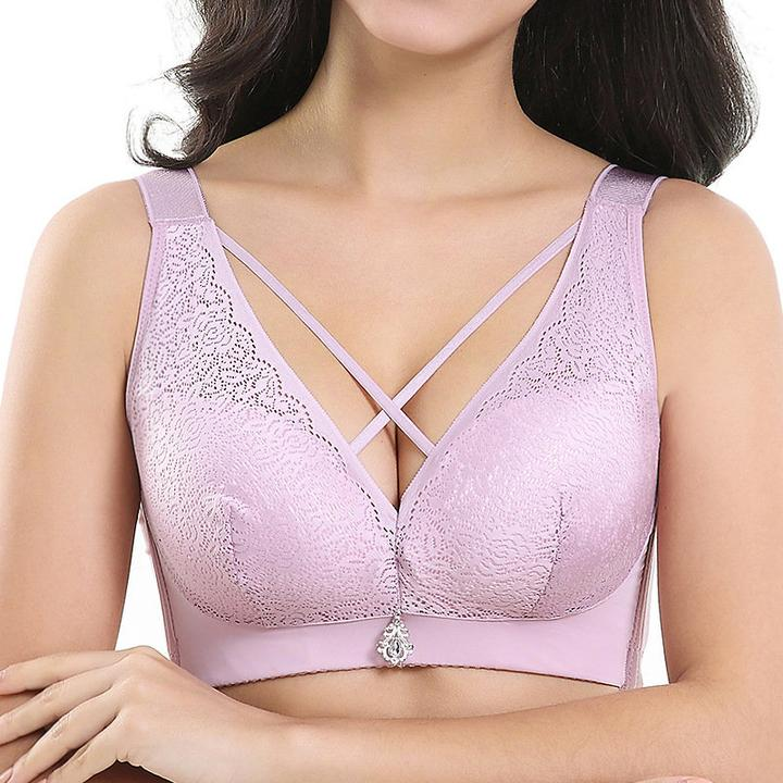 Lace Wireless Crisscross Straps Side Support Bras
