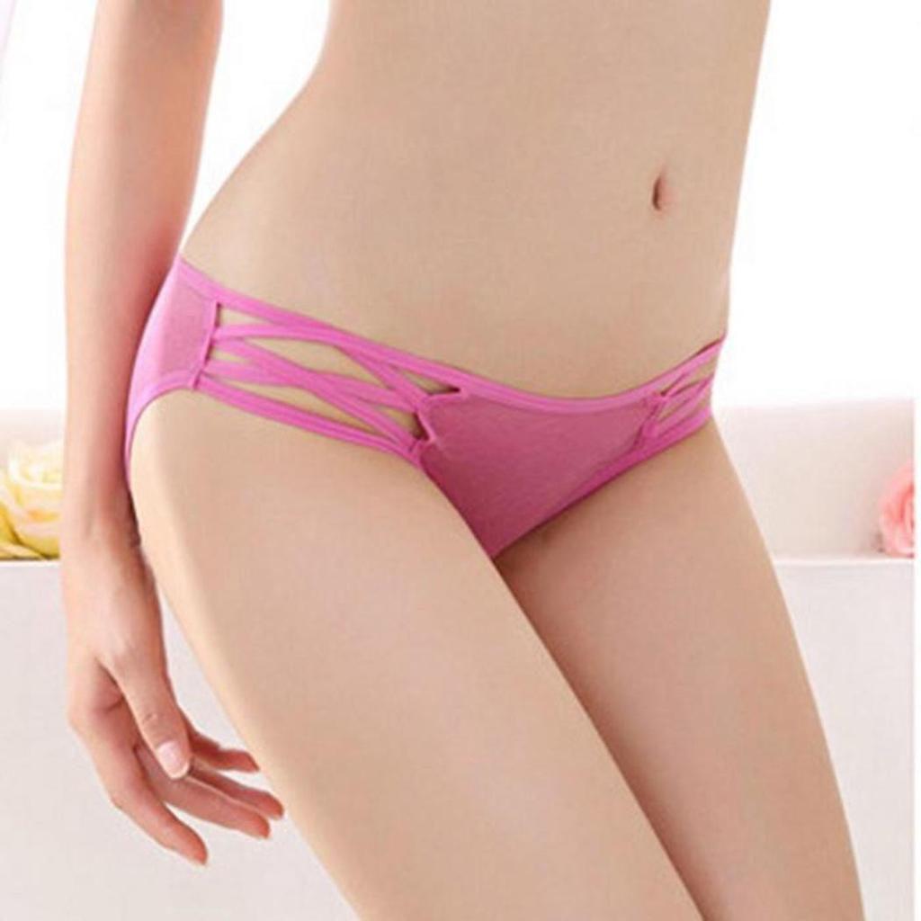 Through Hollow Out Elastic Low Waist Briefs