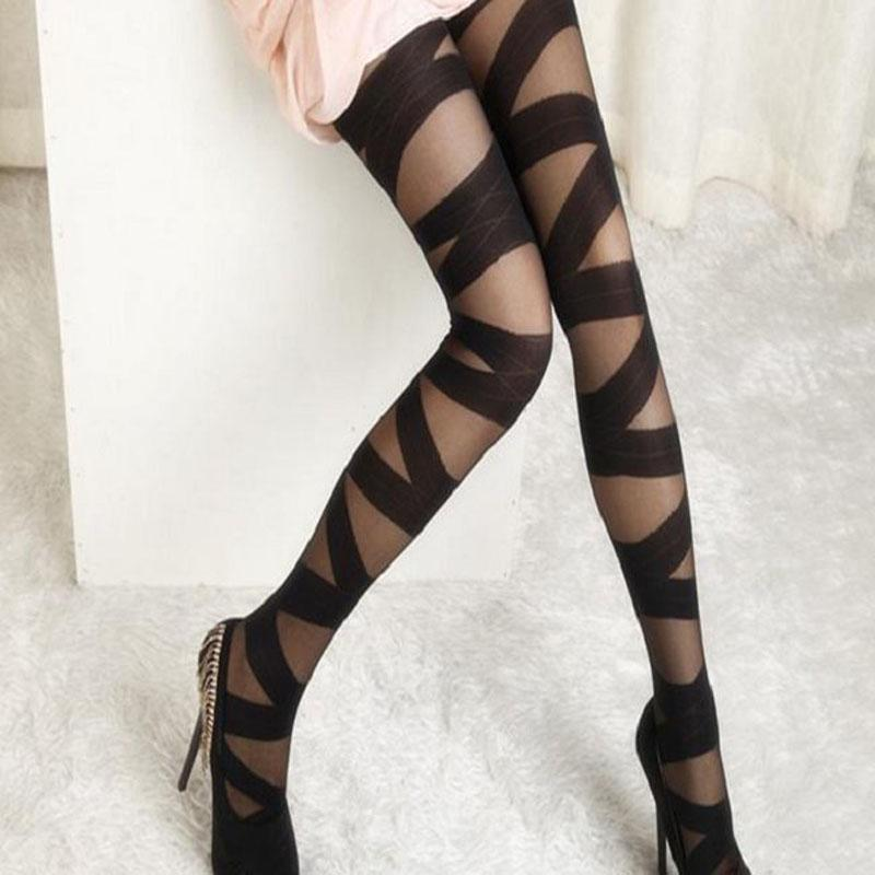 Vintage Stretch Tights Pantyhose Bandage Stockings