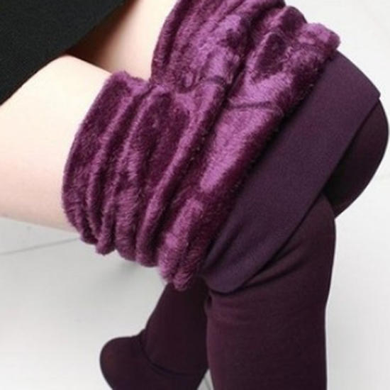 Fashion Fur Brushed Stretch Fleece Thick Tights