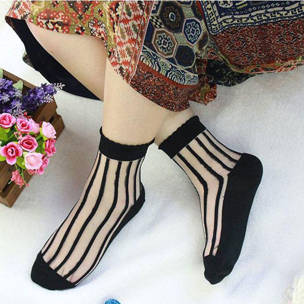 Transparent Glass Silk Socks Stripe