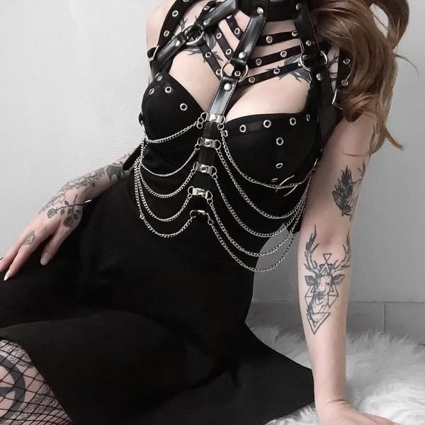 Goth Leather Chain Harness