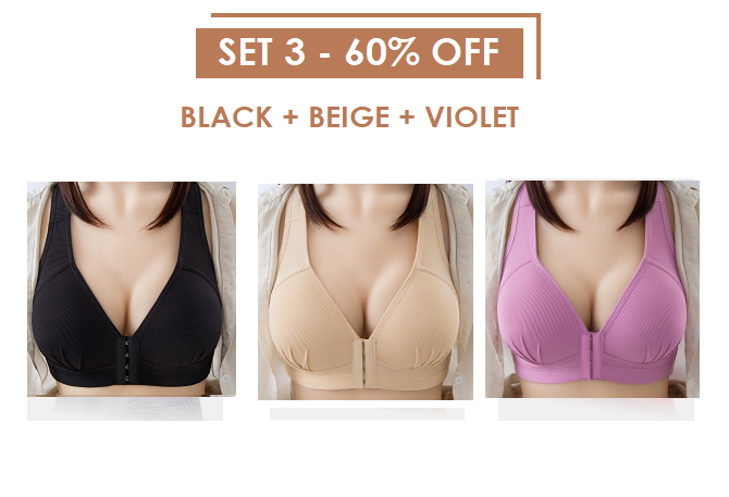 Front Closure Solid Color Brassiere