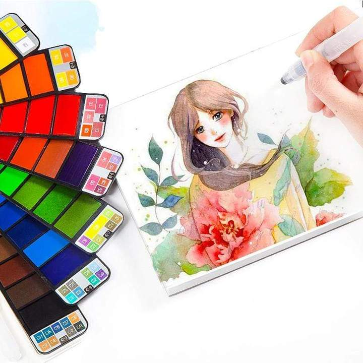 Palm-Sized Foldable Watercolor Palette Set