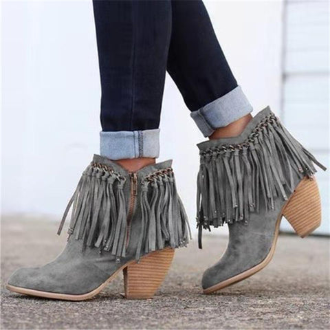 Retro Tassel Side Zipper Pure Color Ankle Boots