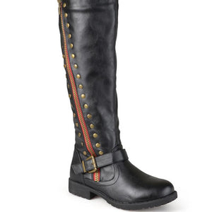 Fashion belt buckle rivet side zipper boots