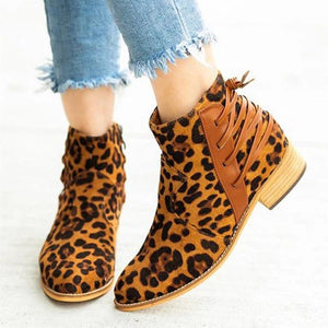 Women's fashion solid color leopard ankle boots