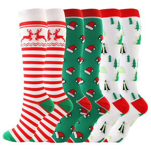 Funny Christmas pattern compression socks stockings
