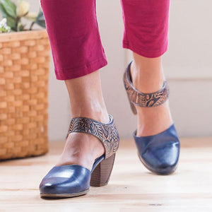 Chunky High Heeled Round Toe Date Travel Pumps