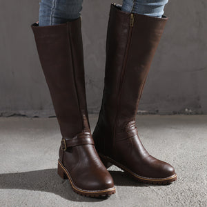 Women's retro fashion versatile high boots