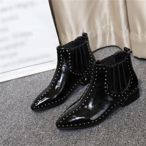 Fashion pointed rivet bright skin women's short boots