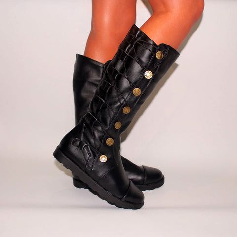 Personality high tube solid color texture knight boots