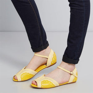 Women's Color Stitching Buckle Flat Shoes